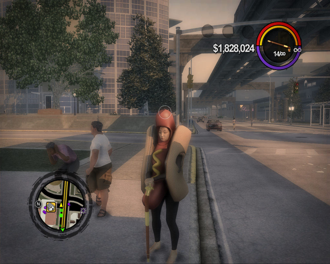 Saints Row 2 Windows Ridiculous costume and a stylish gun