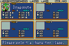 Shining Soul Game Boy Advance Select from four characters classes