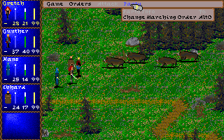 Darklands DOS Boars charge at you. You pause the game to see some options. You suddenly remember you haven't had bacon for breakfast yet