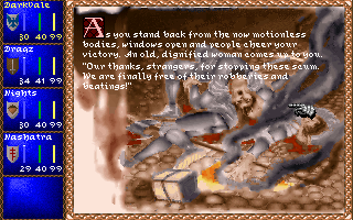 Darklands DOS Spoils of war - defeating thugs in towns at night gradually increases your local reputation.