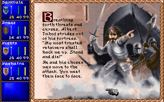 Darklands DOS Prepare for combat! Challenging a Raubritter (Robber Knight) to personal combat.
