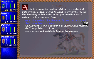 Darklands DOS Random events - a wandering knight challenges you a joust!