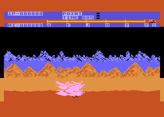 Moon Patrol Atari 8-bit Destroyed by a hole in the ground