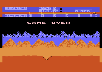 Moon Patrol Atari 8-bit Game over
