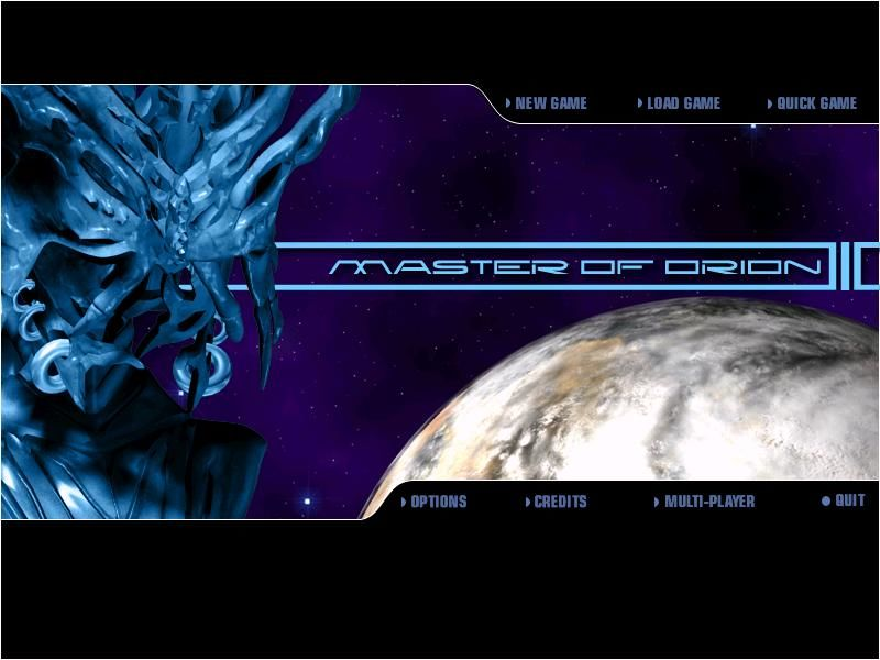 Master of Orion 3 Windows Main Menu - Local Silicoid posing as cover boy uh... cover thing.