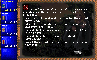 Darklands DOS Victory over evil! - after defeating a witch you have several options that you may choose from. Not all are beneficial to your cause however.