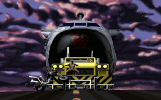 Full Throttle DOS A cutscene with Ben clinging to the front of the truck