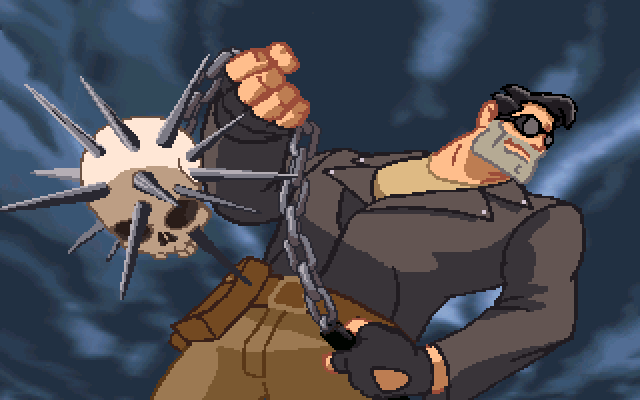 Full Throttle DOS Ben can gain various weapons from defeating bikers. This one looks pretty impressive...