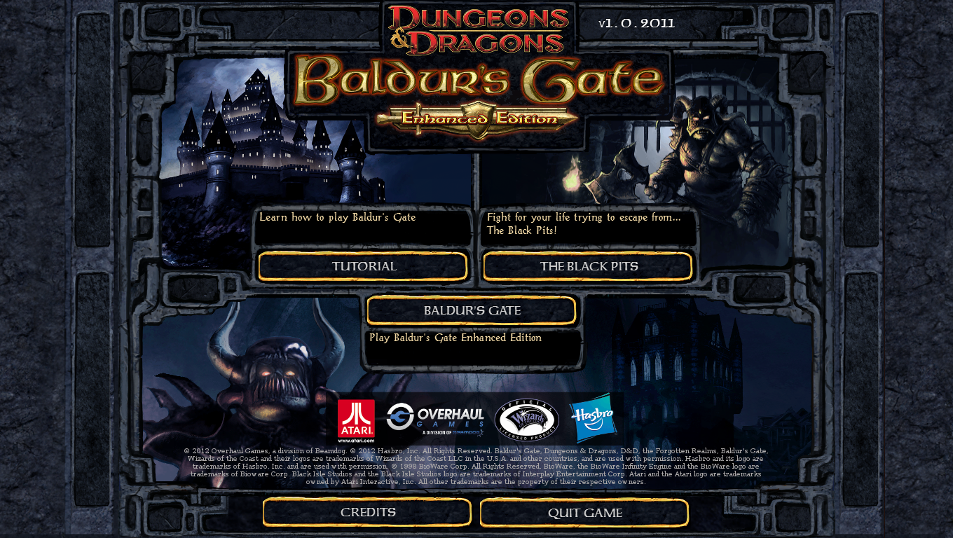Baldur's Gate: Enhanced Edition Windows Main menu