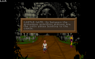 "Lure of the Temptress DOS Castle Gate - Each area has a description on it by activating the command ""Look"""