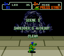 Teenage Mutant Ninja Turtles: The Hyperstone Heist Genesis Level completed