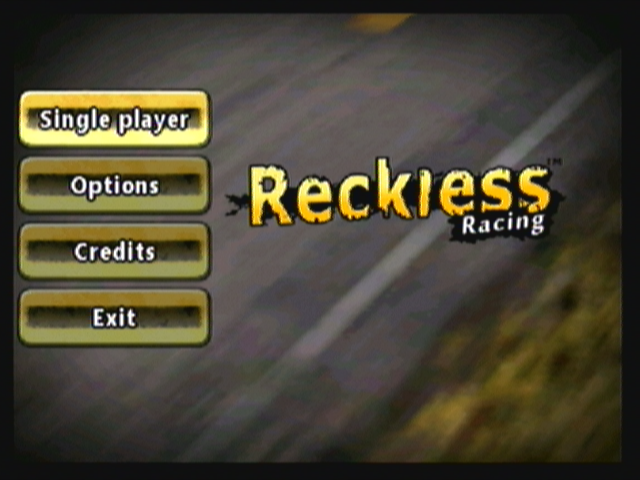 Reckless Racing Zeebo Main menu.