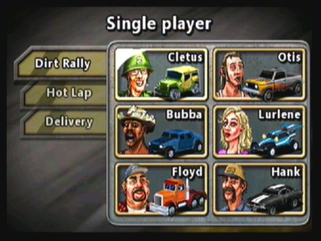 Reckless Racing Zeebo Character (and car) selection.