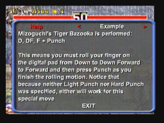 Fighter's History Dynamite Zeebo The pop up menu has, under the help section, all the moves for each character. Here we have Misogushi's moves.