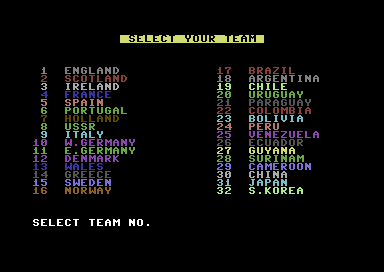 International Football Commodore 64 Team Selection.