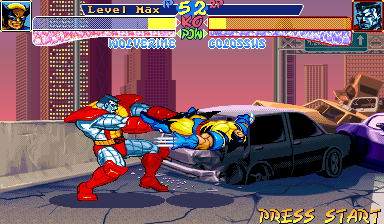 X-Men: Children of the Atom Arcade Collosus throws Wolverine