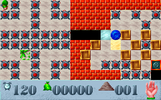 Saper DOS Level 1 - Ice will slip saper on the next field, blue mine means instant death, plant expands to the empty field, bombs blow out few seconds after activation
