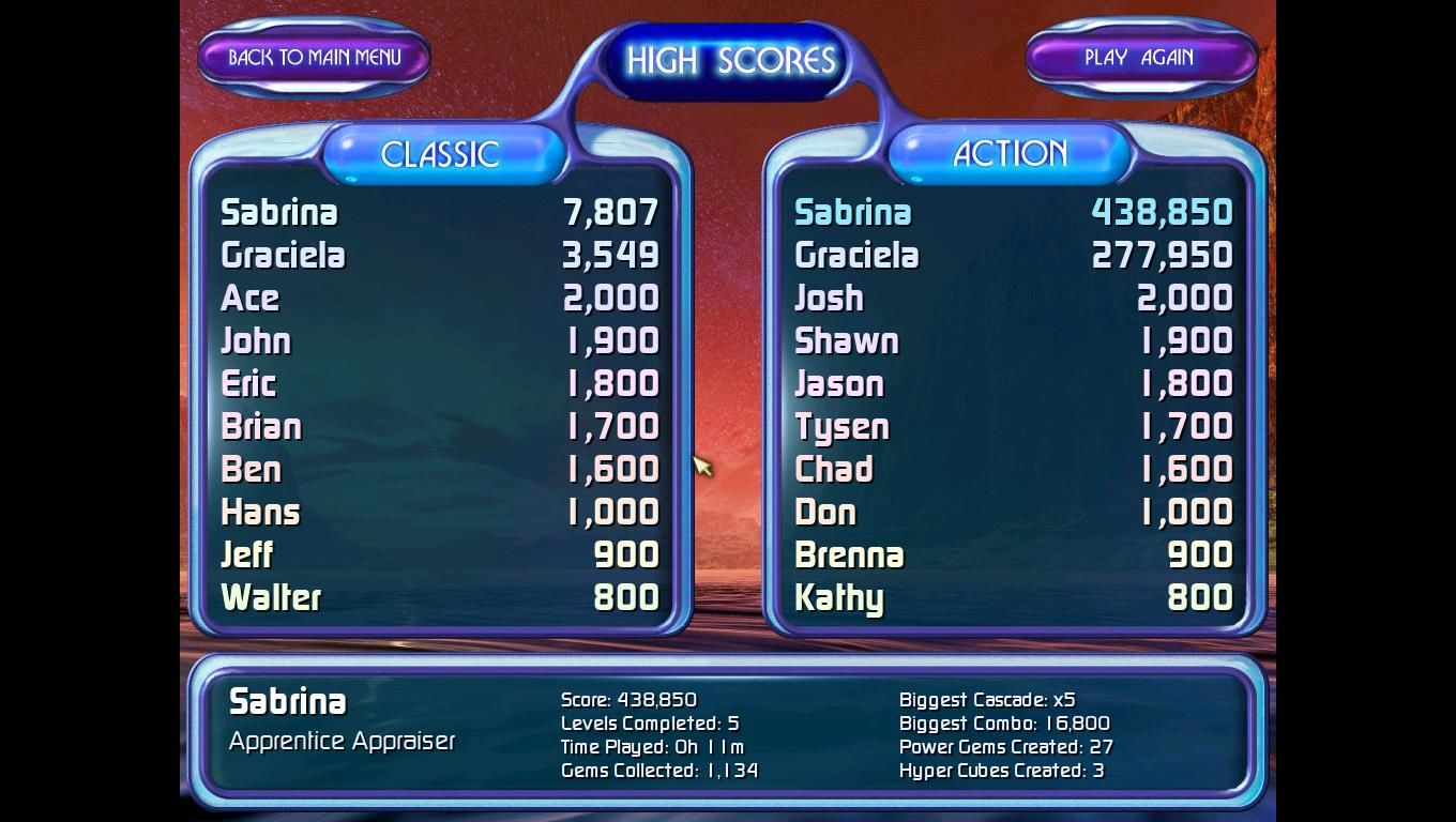 "Bejeweled 2 Deluxe Windows These are the high scores for both the ""Classic"" and ""Action""."