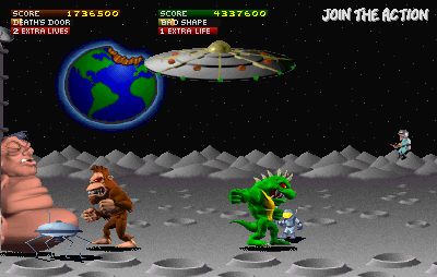 Rampage World Tour Arcade They put monsters on the Moon