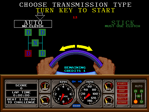 Hard Drivin' Arcade Transmission Selection.