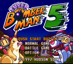 Super Bomberman 5 SNES Title screen