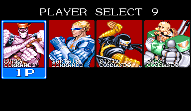 Captain Commando Arcade Character selection