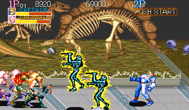 Captain Commando Arcade The Captain getting electrified, but some enemies are also affected