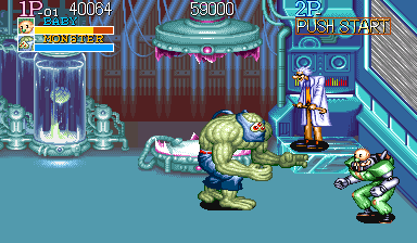 Captain Commando Arcade Freakish boss, but the player character on the right isn't any less weird