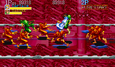 Captain Commando Arcade Just grabbing one of the many ninjas running around