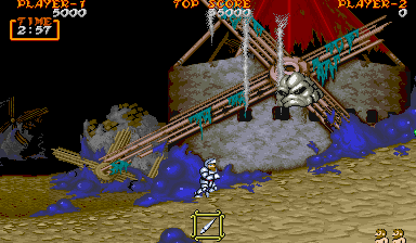 Ghouls 'N Ghosts Arcade Rock with face