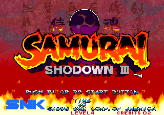 Samurai Shodown III: Blades of Blood Arcade Title screen