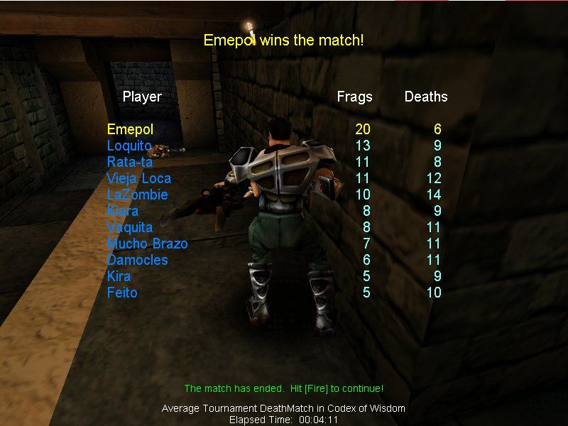 Unreal Tournament Windows End of match