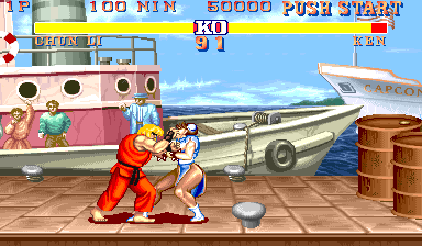 Street Fighter II Arcade You have something on face.