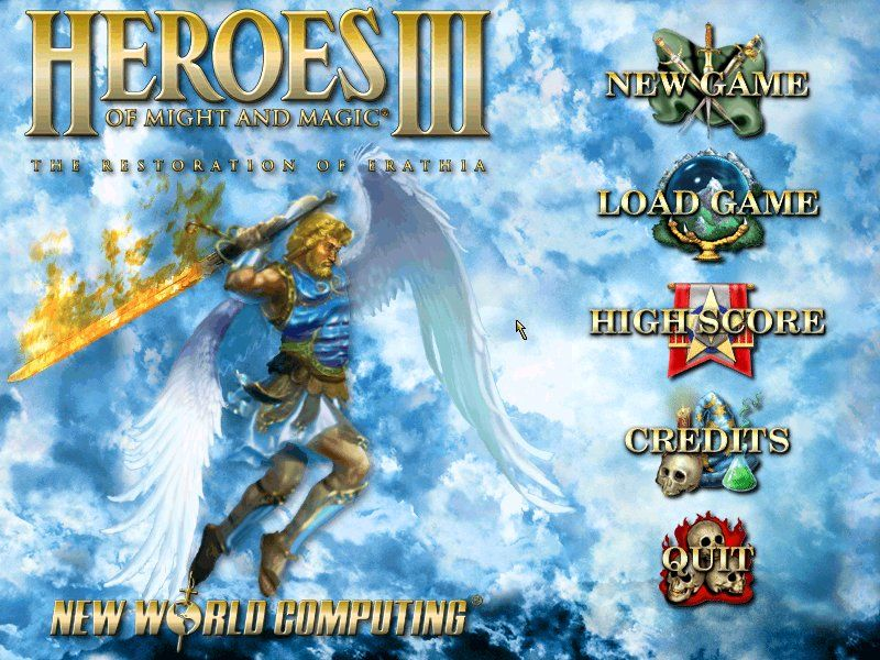 Heroes of Might and Magic III: The Restoration of Erathia Windows main menu