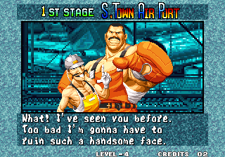 Fatal Fury 3: Road to the Final Victory Arcade Pre fight statement