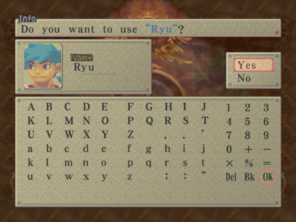 Breath of Fire IV Windows Name your main character... all other characters cannot be named