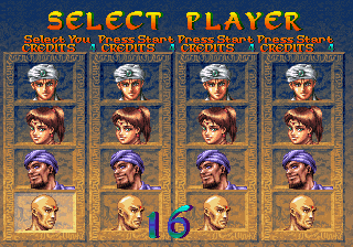 Arabian Fight Arcade Select Player.