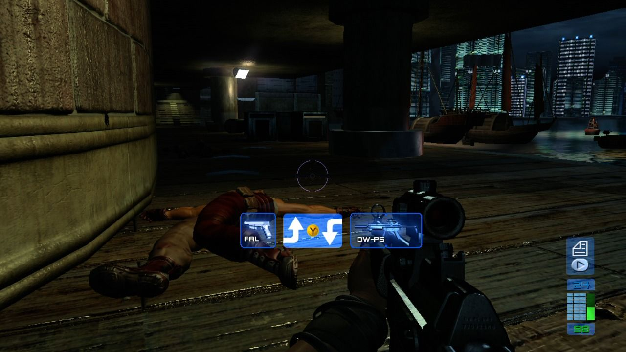 Perfect Dark Zero Xbox 360 You can pick up enemy weapons, but you are
