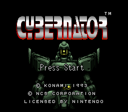 Cybernator SNES Title screen