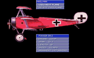 Blue Max: Aces of the Great War Amiga One of the planes you can choose