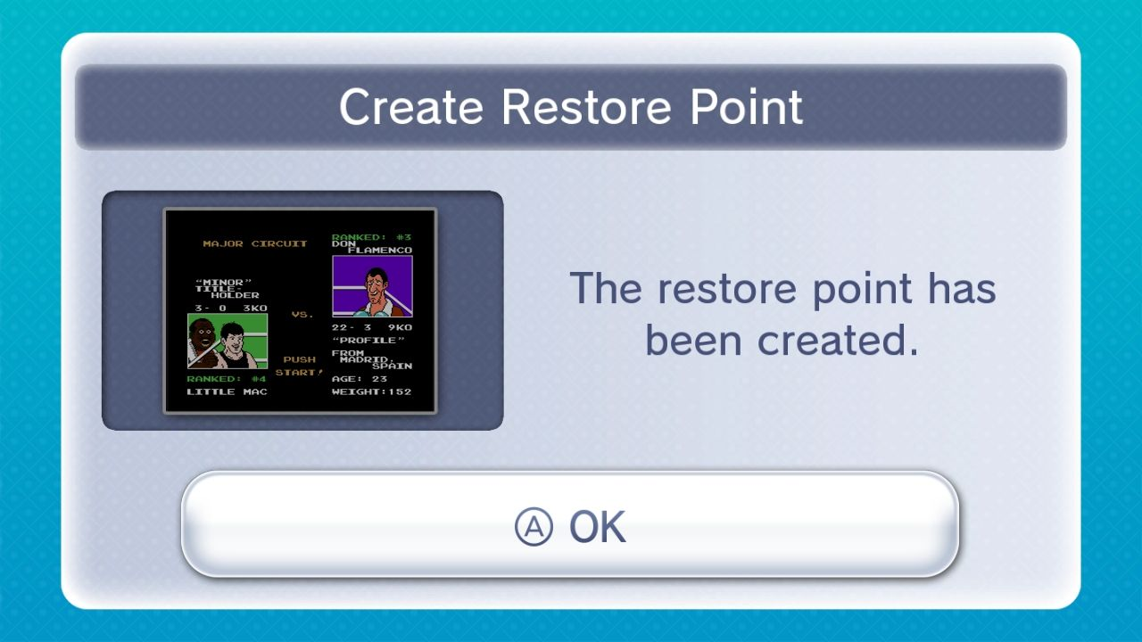 Mike Tyson's Punch-Out!! Wii U The Virtual Console allows for 'Restore Points' (save states)