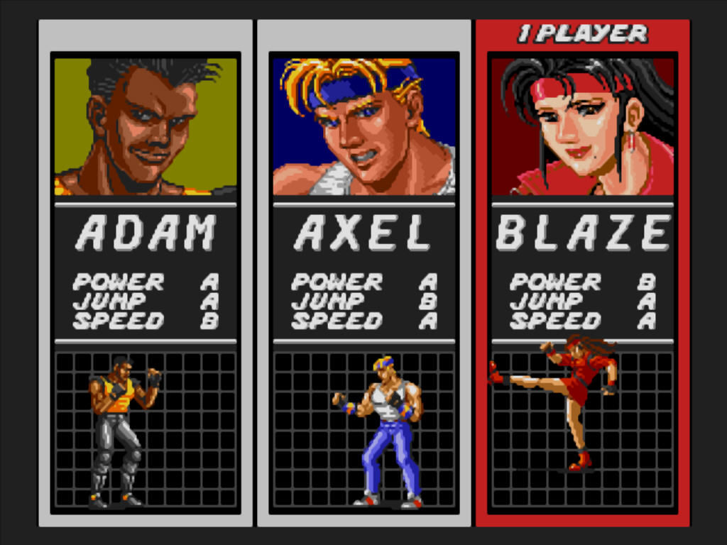 Streets of Rage Windows Player selection