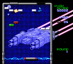 Arkanoid: Doh It Again SNES A battle rages on in the background while blocks are attacked in the foreground