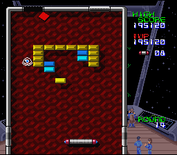 Arkanoid: Doh It Again SNES This blob creature disappears with the powerball and releases it somewhere else.