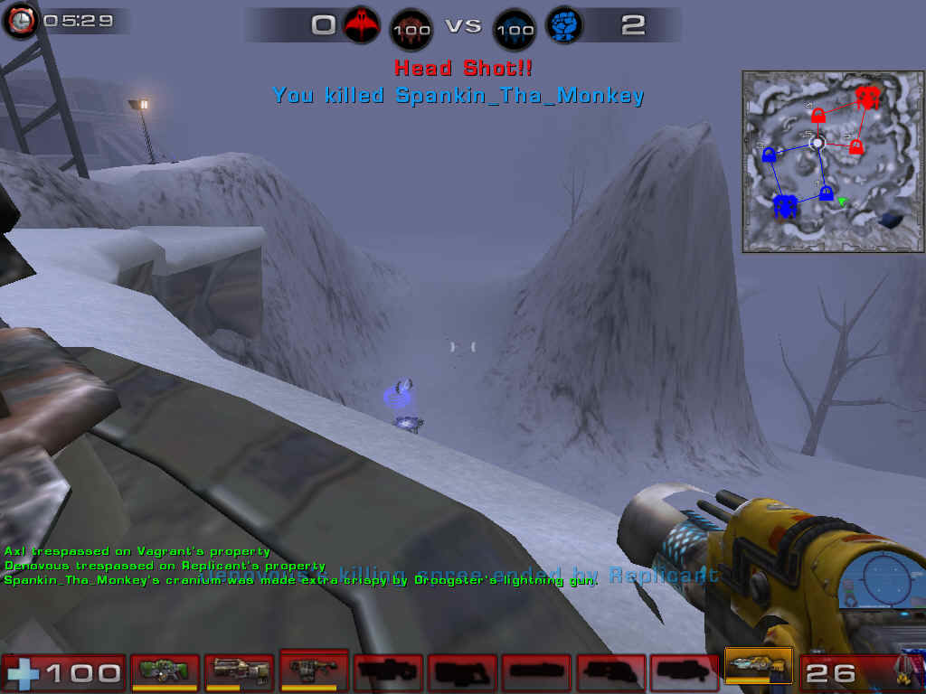 Unreal Tournament 2004 Windows The Lightning Gun is devastating if you snipe people in the head.