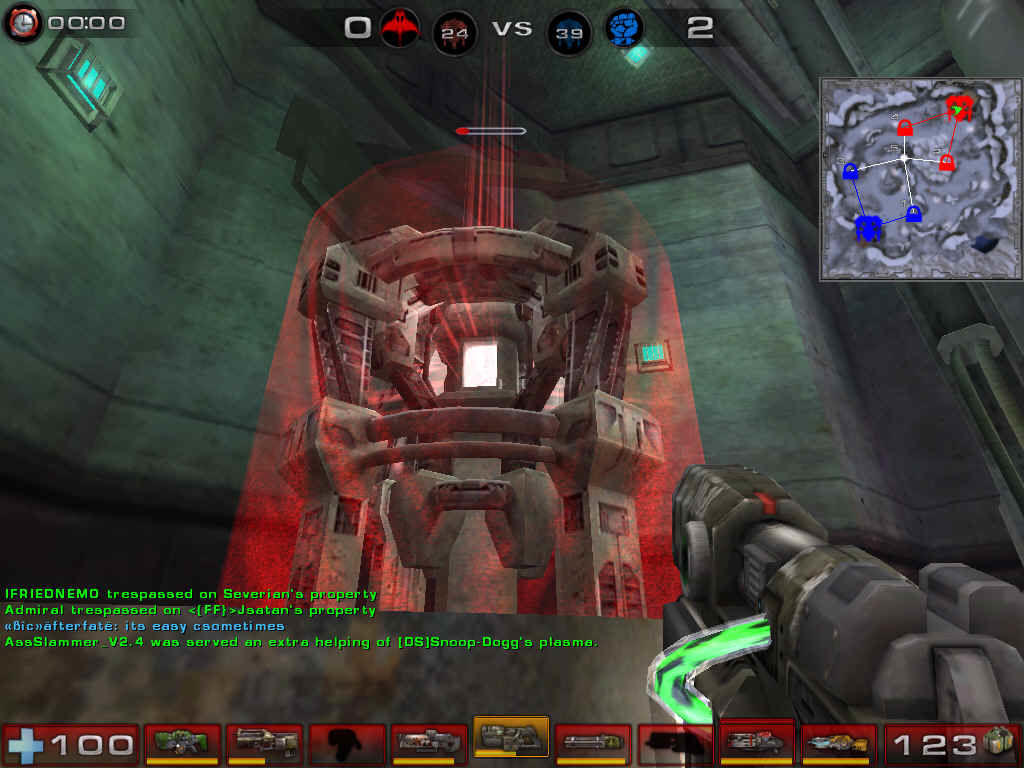 Unreal Tournament 2004 Windows Red's power core is almost destroyed. Once in overtime, both power cores have their energy slowly drained, relatively to the number of powernodes owned by each team. A power core can never be healed.