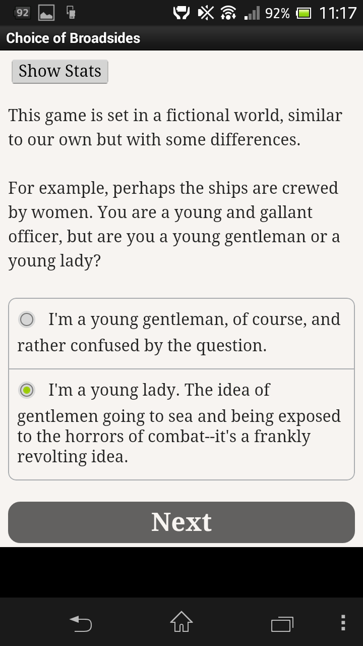 Choice of Broadsides Android Choosing whether to spin the world on its gender axis