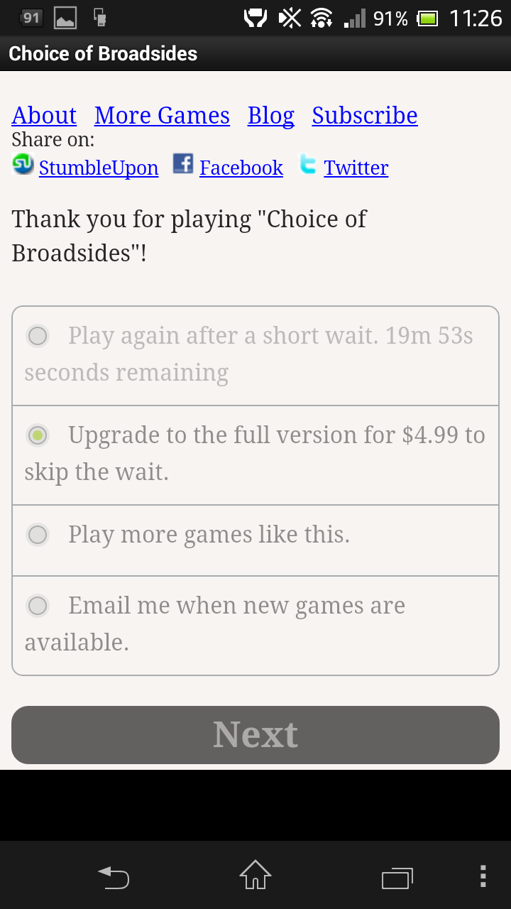 Choice of Broadsides Android Metering free players' access to the game.  You can try again, but you have to wait -- or pay!