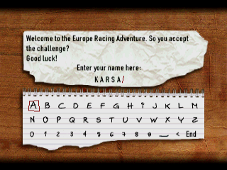 Europe Racing PlayStation Enter Your name