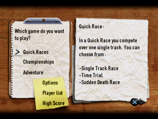 Europe Racing PlayStation Game modes